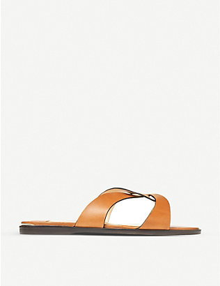 JIMMY CHOO: Atia flat leather sandals