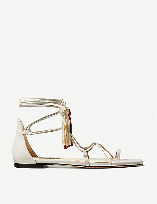 JIMMY CHOO: Dusti flat tassel-embellished leather sandals