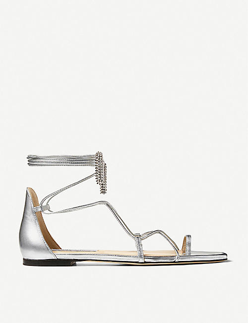 JIMMY CHOO: Tassel-embellished metallic leather sandals