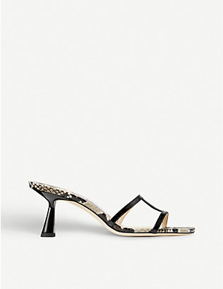 JIMMY CHOO: Ria 65 backless snake-embossed leather heeled mules