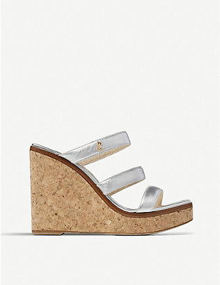 JIMMY CHOO: Athenian 100 metallic leather and cork wedges