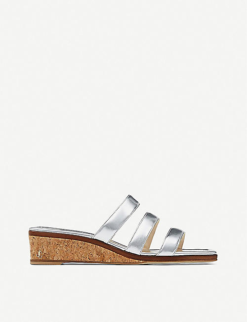 JIMMY CHOO: Athenia 35 metallic leather and cork wedges