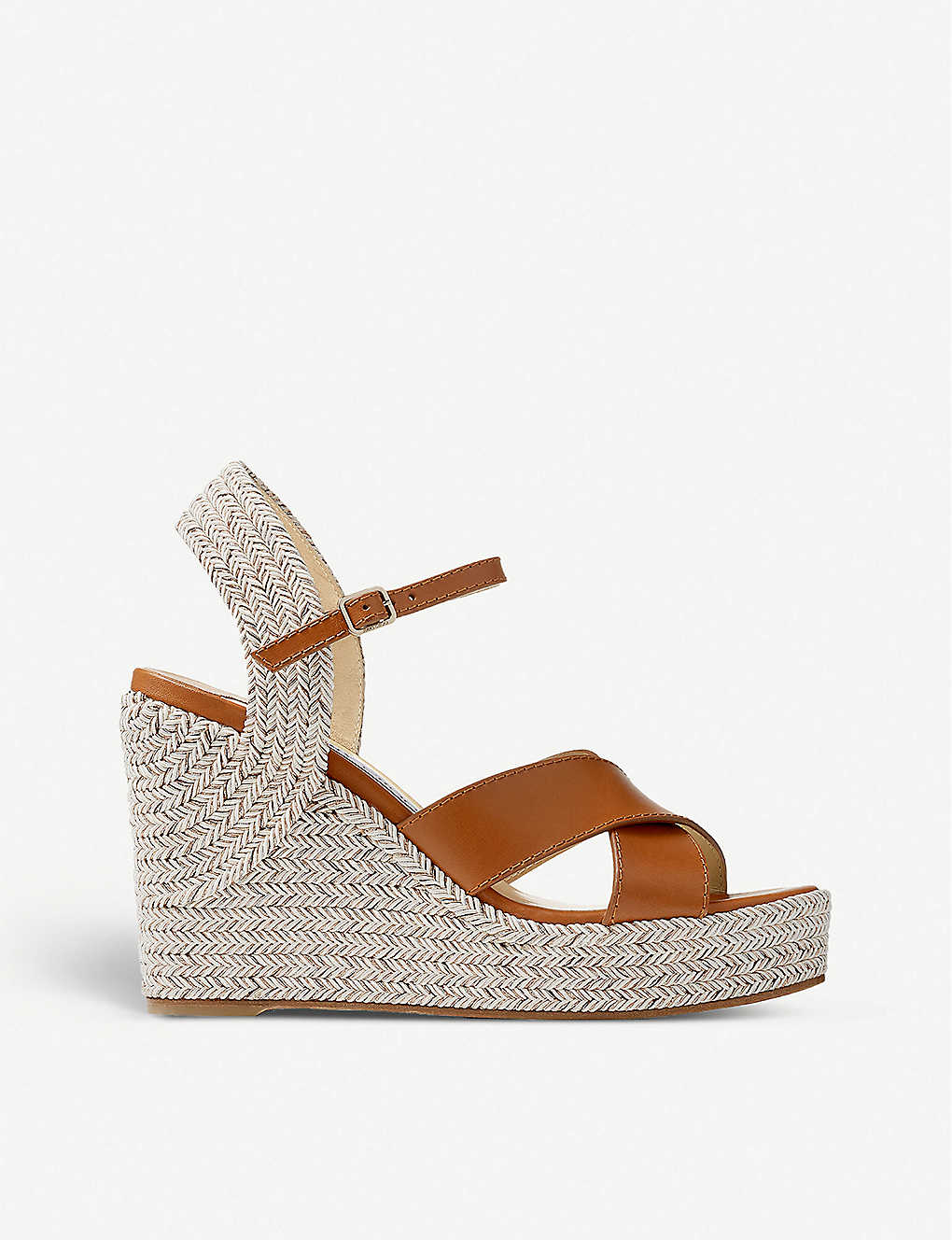 JIMMY CHOO: Dellena 100 leather and cork wedge sandals