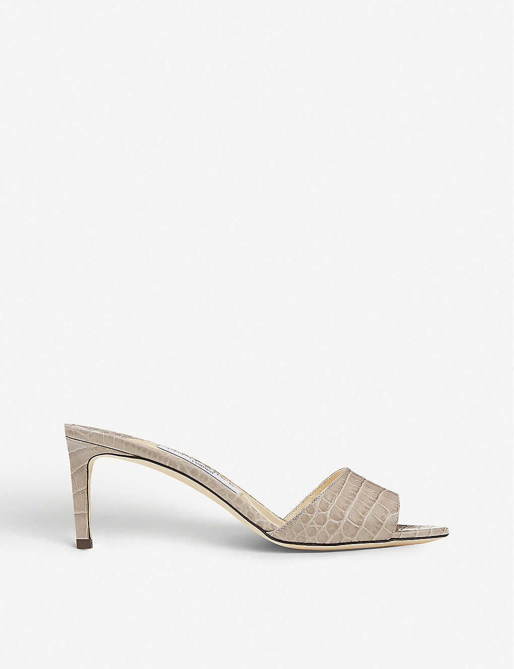 JIMMY CHOO: Stacey 65 croc-embossed leather mules