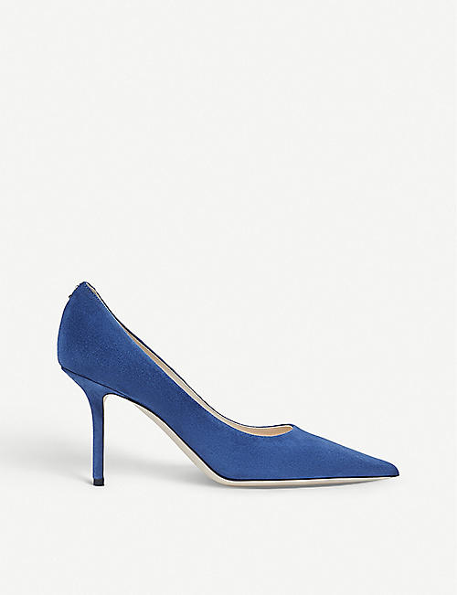 JIMMY CHOO: Love 85 logo-embellished suede courts