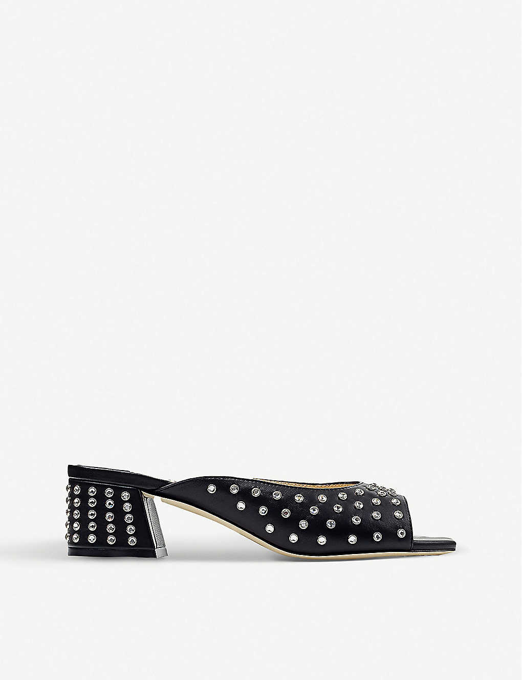 JIMMY CHOO: Jynx 45 crystal-embellished leather mules