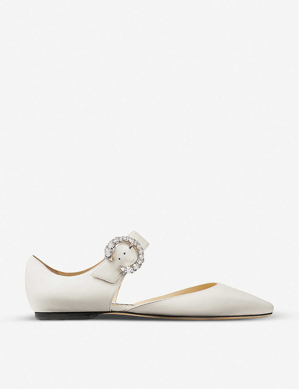 JIMMY CHOO: Gin crystal-embellished leather flats