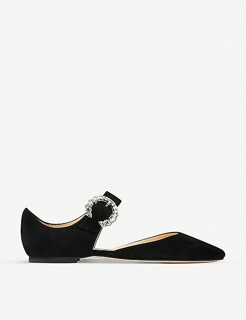 JIMMY CHOO: Gin crystal-embellished suede flats