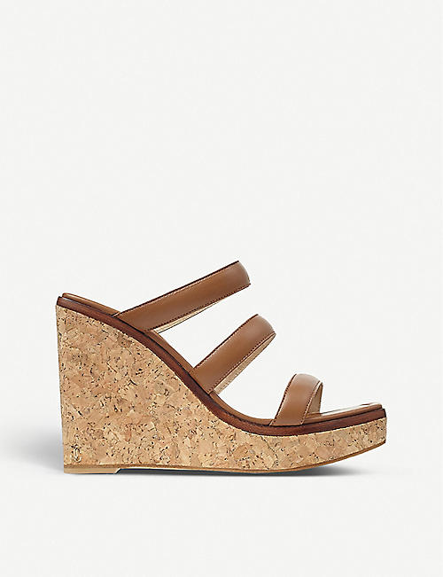 JIMMY CHOO: Athenia 110 leather wedge sandals