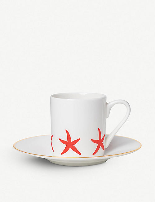ALICE PETO: Starfish fine bone china espresso cup and saucer set