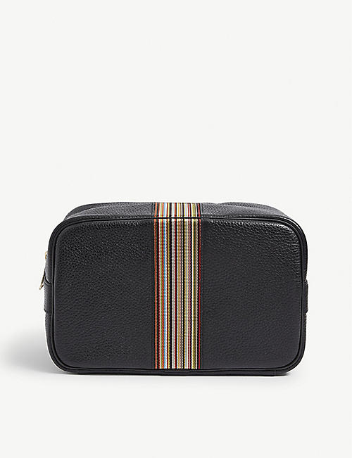 PAUL SMITH ACCESSORIES: Stripe-embroidered leather cross-body bag