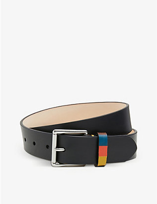 PAUL SMITH ACCESSORIES: Leather striped keeper belt