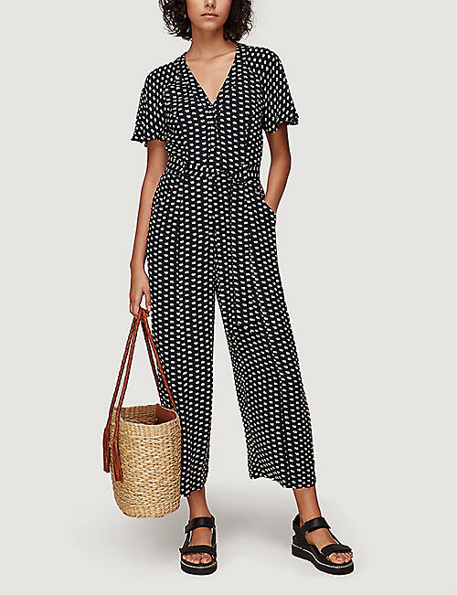 WHISTLES Elephant-print cropped crepe jumpsuit