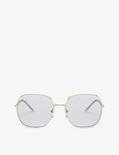 PRADA: PR 67XS 58 rectangle-frame gold-tone metal sunglasses