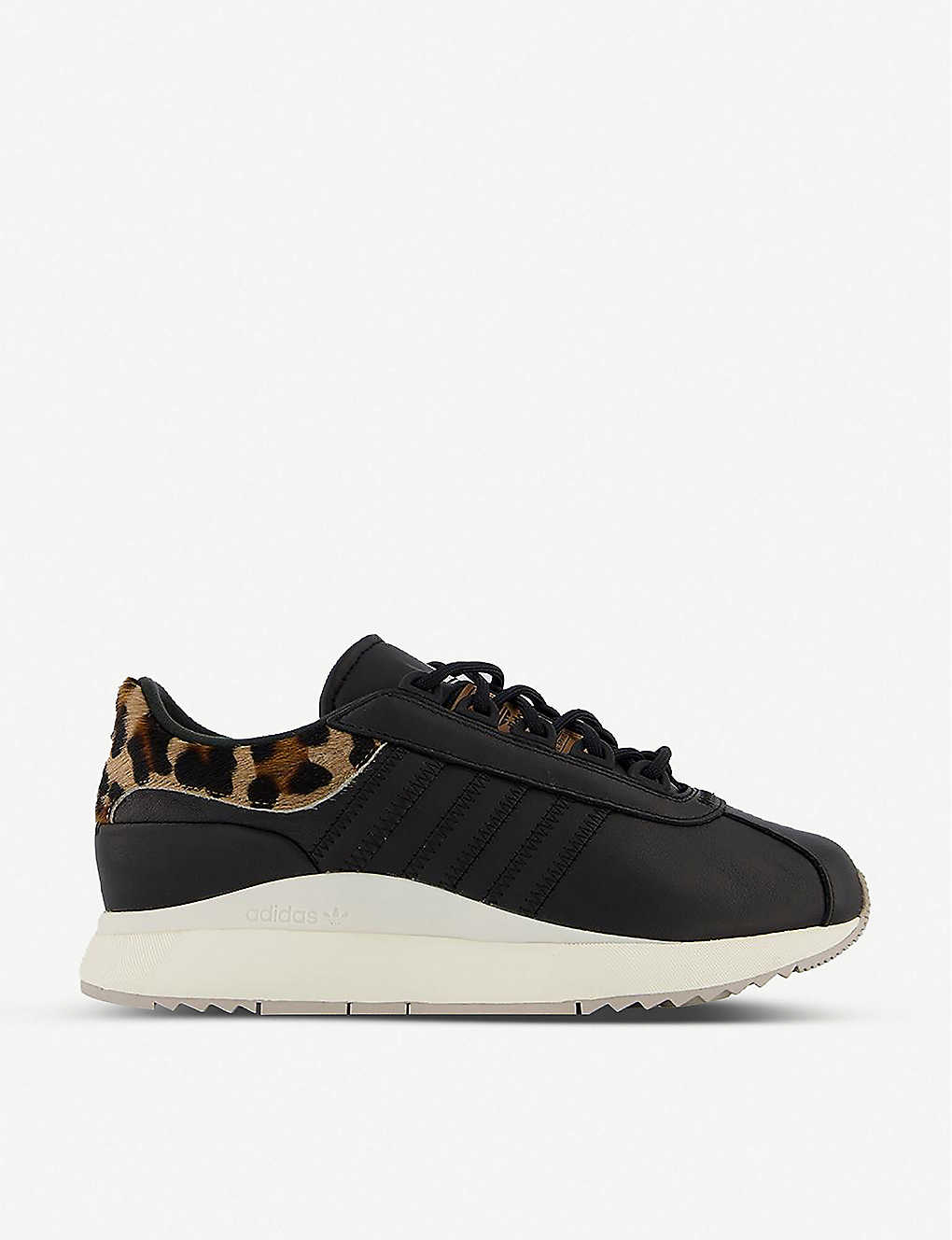 ADIDAS: SL Andridge leopard-print leather and calf-hair trainers
