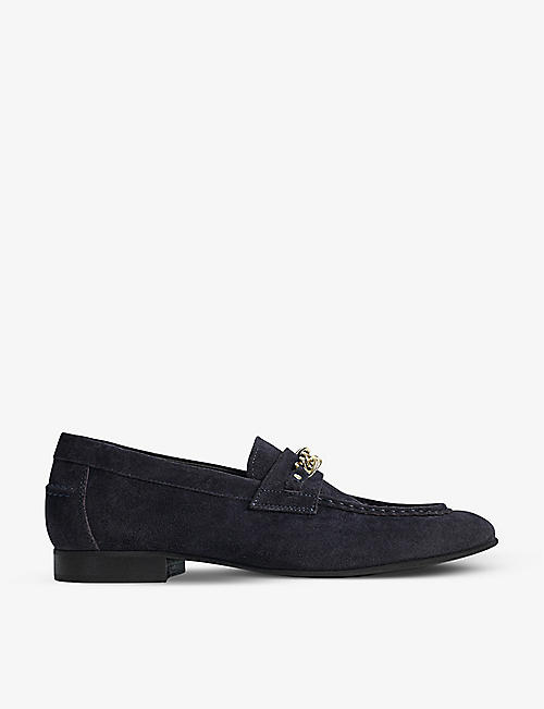 REISS: Lex chain-detail suede loafer