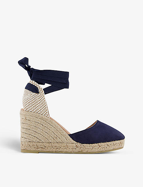 GAIMO: Wrap-around suede espadrille wedge sandals