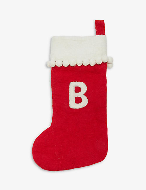 CHRISTMAS: Alphabet 'B' medium felt stocking 50cm