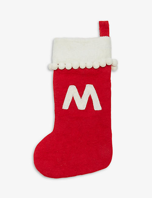 CHRISTMAS: 'M' felt Christmas Stocking 50cm