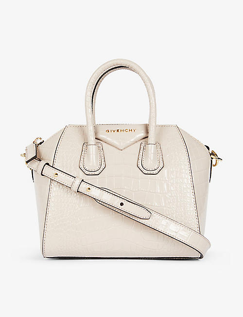 GIVENCHY: Antigona mini croc-embossed leather tote bag