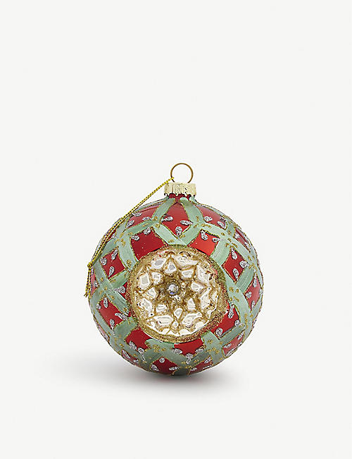 CHRISTMAS: Embellished glass bauble 12cm