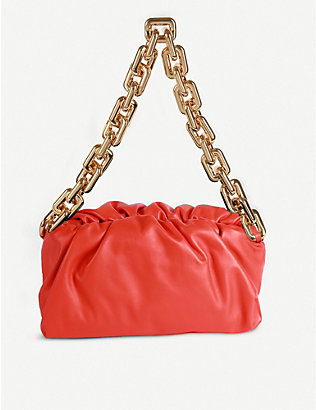 BOTTEGA VENETA: The Pouch chain-embellished leather shoulder bag