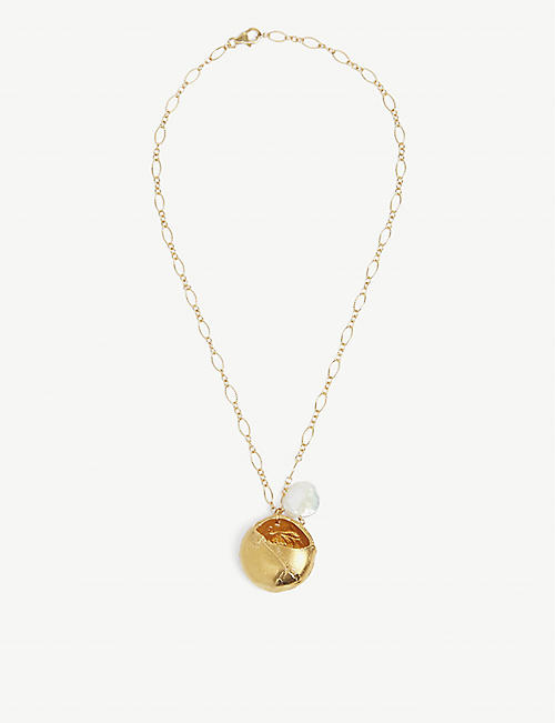ALIGHIERI: Jaja 24ct yellow gold-plated bronze and freshwater pearl pendant necklace