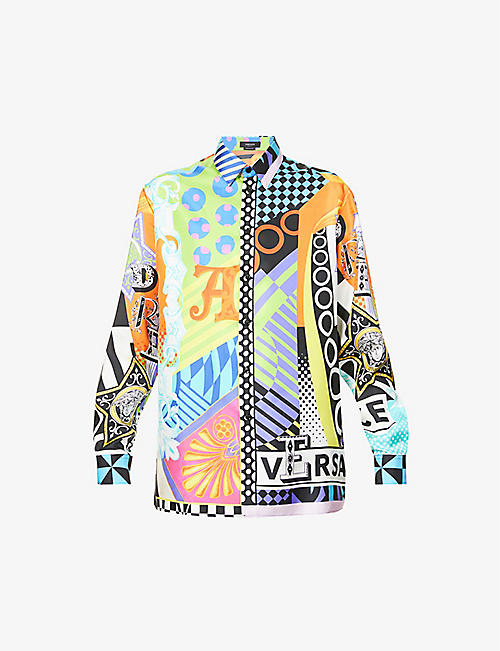 VERSACE: Graphic-print relaxed-fit silk shirt