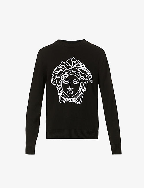 VERSACE: Brand-embroidered crewneck wool jumper