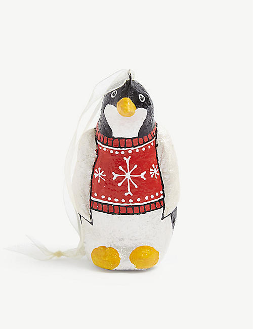 CHRISTMAS: Penguin plaster hanging decoration 10cm