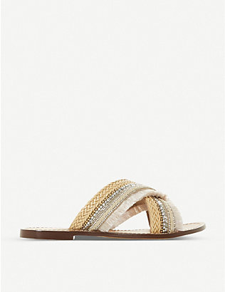 DUNE: Lakely embellished cross-over strap sandals