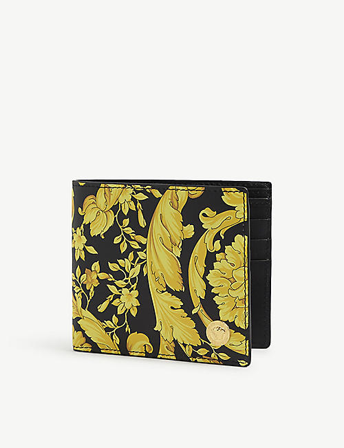 VERSACE: Floral-print leather billfold wallet