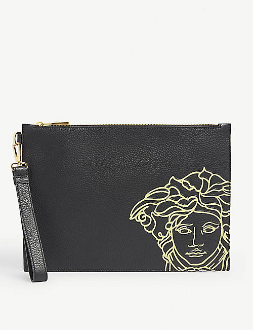 VERSACE: Graphic-print leather pouch