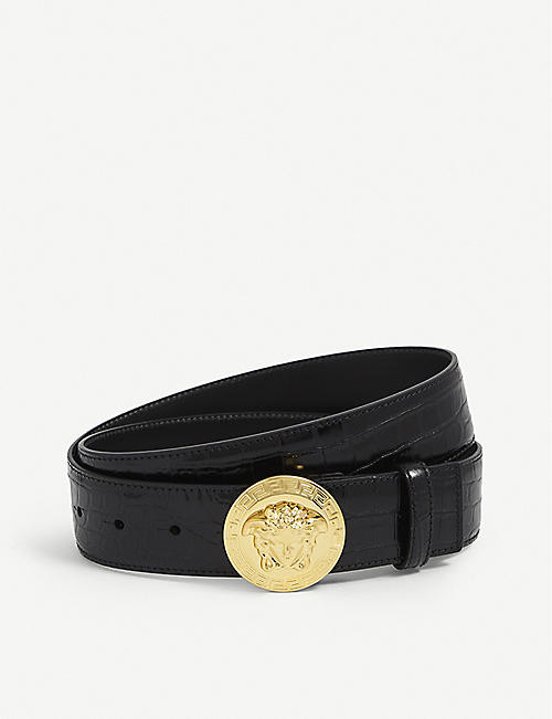 VERSACE: Medusa coin crocodile-embossed leather belt