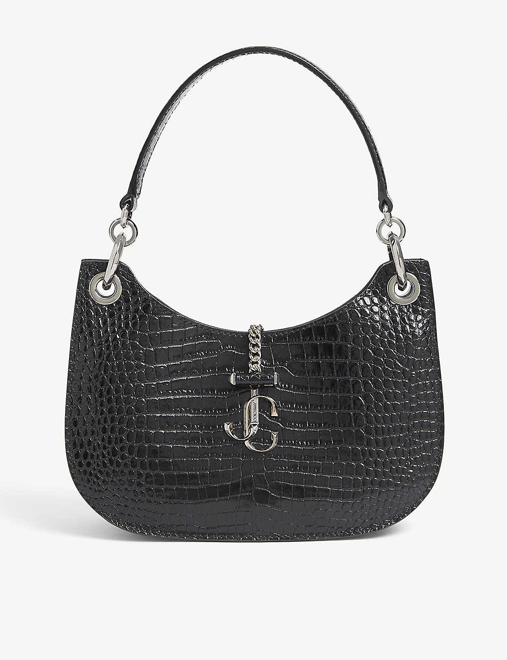 JIMMY CHOO: Varenne small crocodile-embossed leather hobo bag