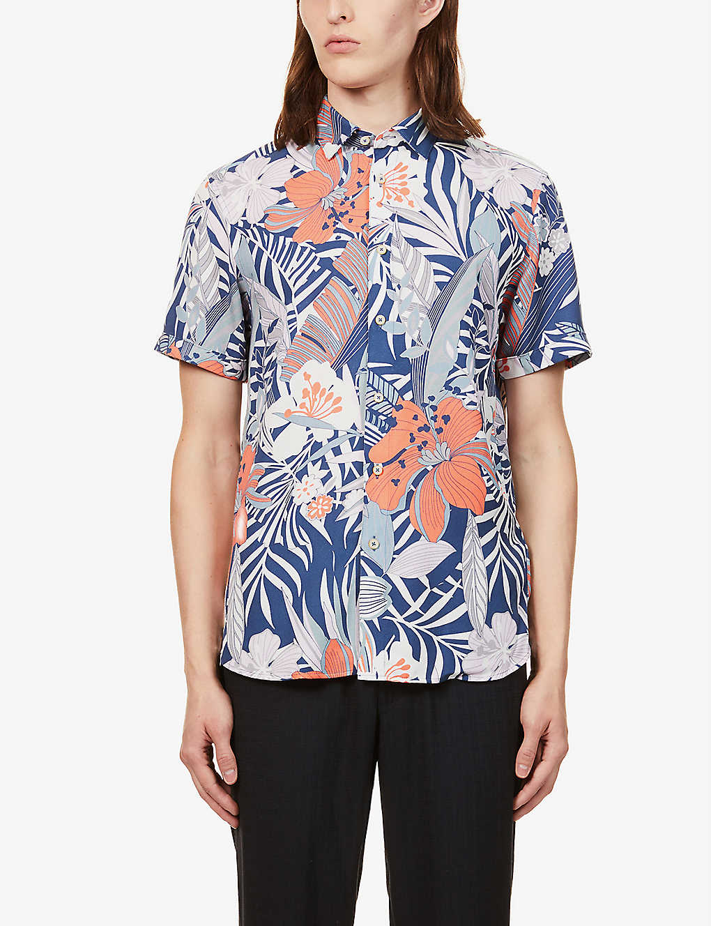TED BAKER: Graphic-print cotton shirt