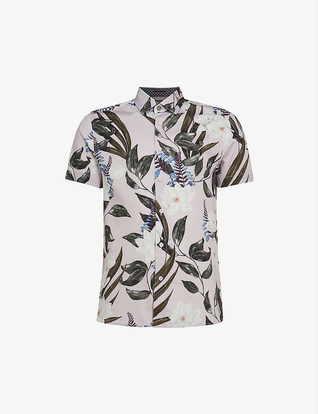 TED BAKER: Flower and leaf-print short sleeve cotton shirt