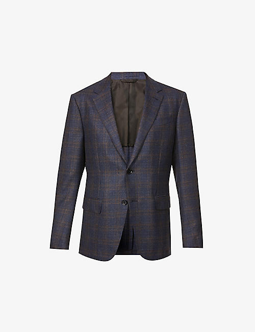 ERMENEGILDO ZEGNA: Check-print single-breasted wool blazer