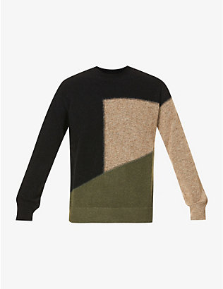 ERMENEGILDO ZEGNA: Colour-block wool-blend jumper