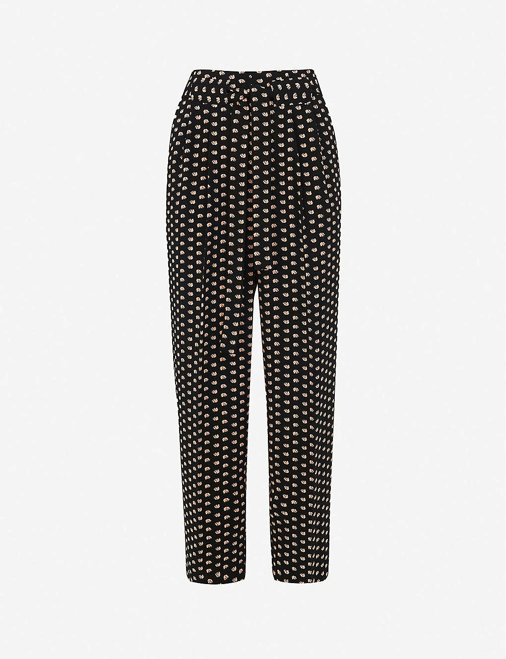 WHISTLES: Elephant-print high-rise crepe trousers