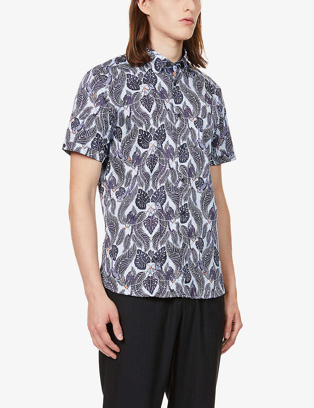 TED BAKER: Graphic-print slim-fit cotton shirt