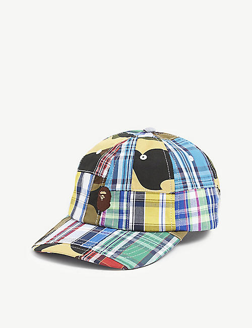 A BATHING APE: Patchwork logo-embroidered cotton baseball cap