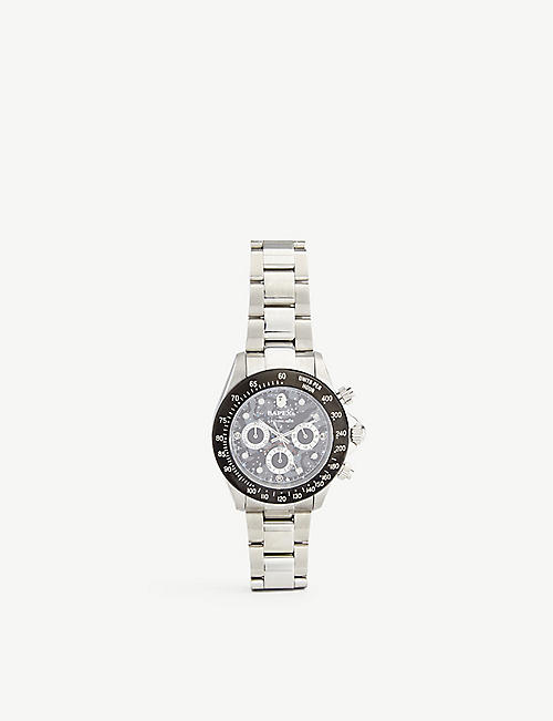 A BATHING APE: Space Camo Type 3 stainless-steel watch