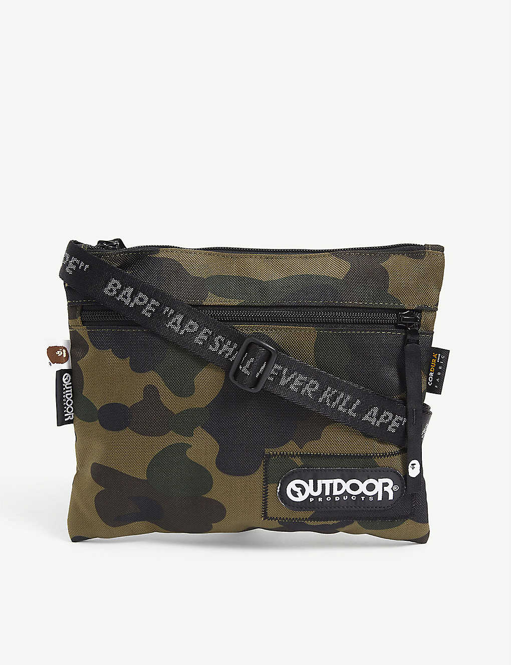 A BATHING APE: Camouflage-print mini woven shoulder bag