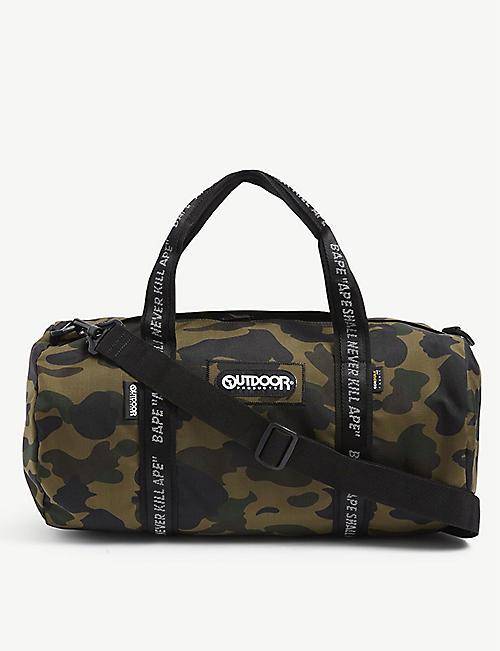 A BATHING APE: Camouflage-print woven duffle bag