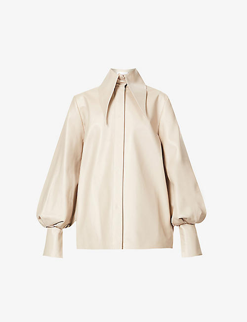 16 ARLINGTON: Manika puffed-sleeve leather shirt