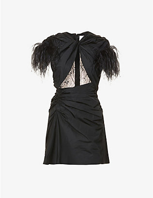 16 ARLINGTON: Sumire feather-trimmed shell and lace mini dress