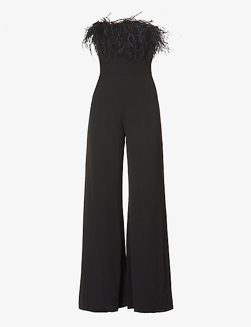 16 ARLINGTON: Taree off-the-shoulder feather-trim crepe jumpsuit