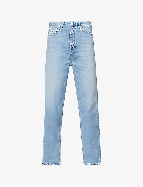CALVIN KLEIN: Dad faded wide-leg high-rise jeans