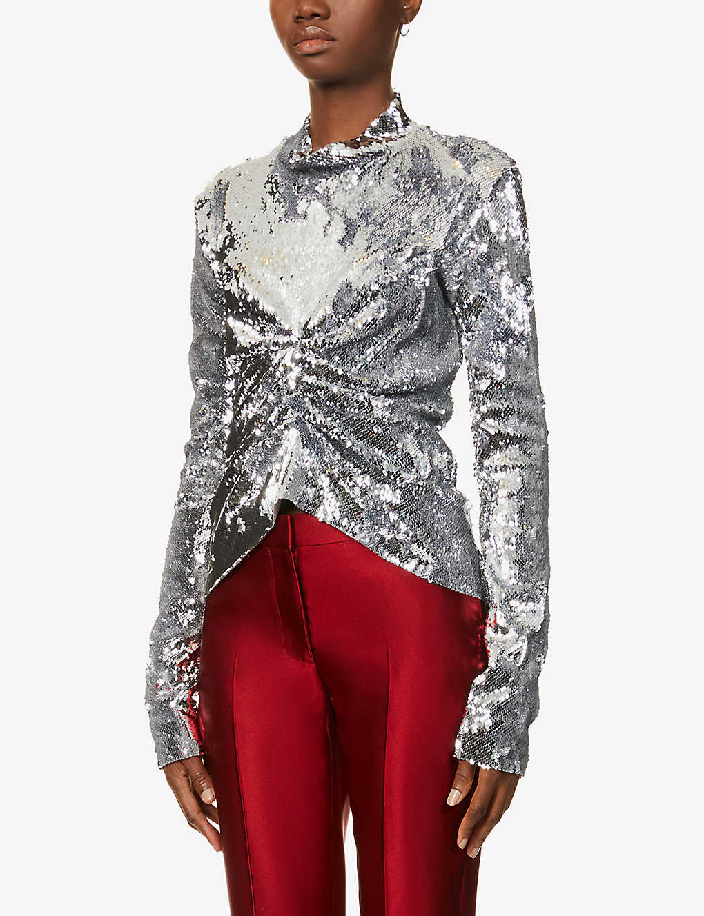 ACT N1: Gathered high-neck sequins top